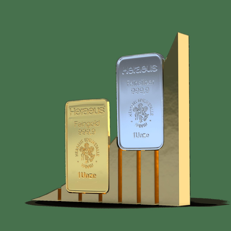 Gold- und Silberbarren kaufen bei Golden Gates.
