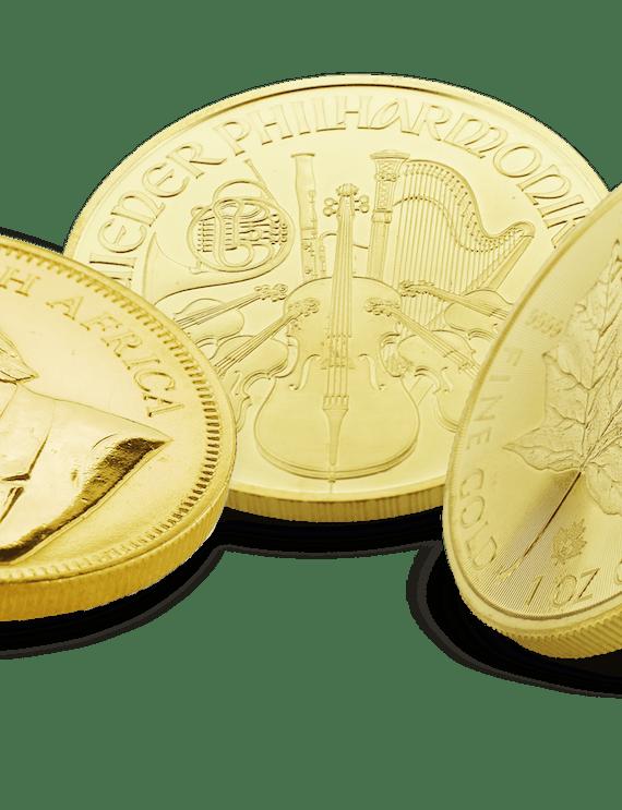 Anlagemünzen aus Gold: Krugerrand, Maple Leaf, Wiener Philharmoniker.